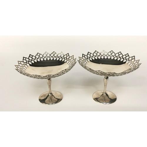 12 - Pair of sterling silver pierced Bon Bon dishes 265gm