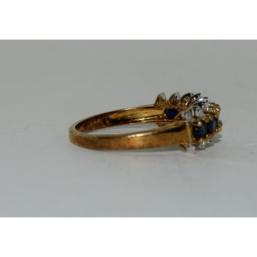 30 - 9ct gold ladies sapphire and diamond bar ring size N