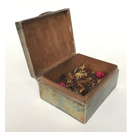 23 - Silver cigarette box together with misc silver flat wear