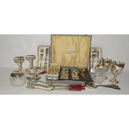6 - Collection of silver and silver plate flat wear and other misc items