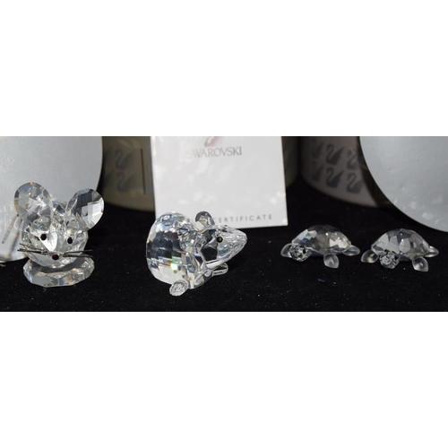 249 - Swarovski Crystal set of Baby Tortoises 220960, Penguins on an Iceberg 209588, Zodiac Goat 275438, C...