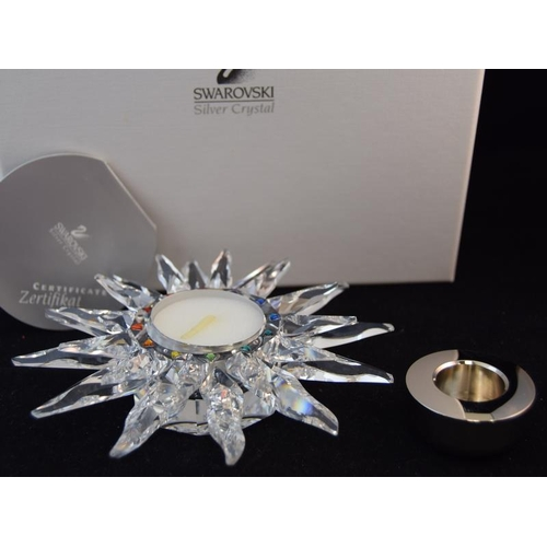 41 - Swarovski Crystal Solaris Candle Holder, code 236719 retired, boxed with paperwork.