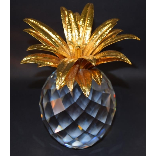 42 - Swarovski Crystal large giant Pineapple with gold coloured leaves, code 7507-260-001 retired 9
