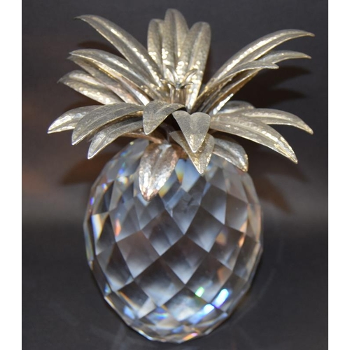 43 - Swarovski Crystal large giant Pineapple with silver coloured leaves, code 7507-260-002 retired 9
