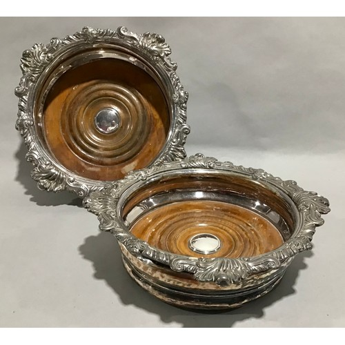 16 - Pair silver plate wine bottle coasters together a silver hallmarked wine bottle coaster