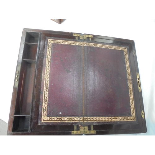 53 - BRASS BOUND ROSEWOOD WRITING BOX - ENGRAVED & DATED