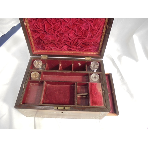 54 - ROSEWOOD WRITING BOX WITH MOTHER OF PEARL INLAY