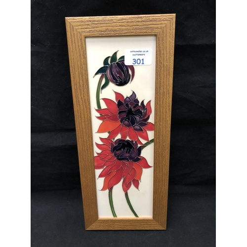 301 - A MOORCROFT POTTERY PLAQUE DECORATED IN THE 'RUBY RED' PATTERN DESIGNED BY EMMA BOSSONS, SHAPE NUMBE...