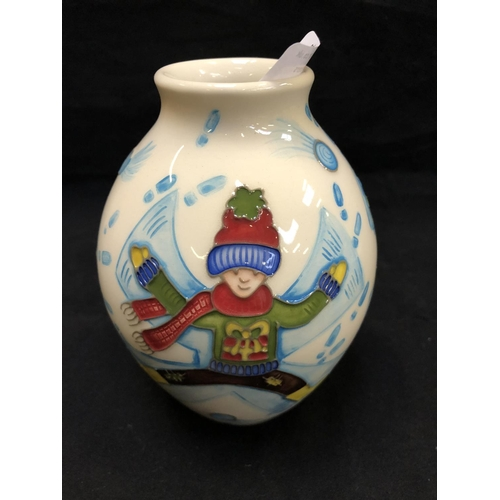 302 - A MOORCROFT POTTERY VASE DECORATED IN THE 'SNOW ANGELS' PATTERN DESIGNED BY HELEN DALE, SHAPE NUMBER...