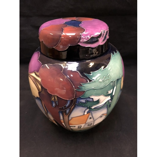305 - A LIMITED EDTION, (36/50), MOORCROFT POTTERY GINGER JAR DECORATED IN THE 'PEGGYS FARM' PATTERN DESIG...