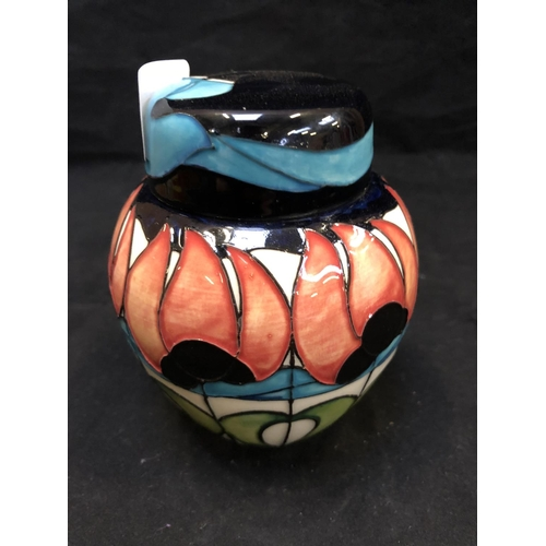 311 - AN EXCLUSIVE MOORCROFT POTTERY GINGER JAR DECORATED IN THE 'BAILLIE' PATTERN DESIGNED BY EMMA BOSSON...