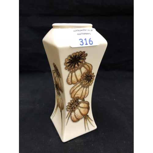 316 - A MOORCROFT POTTERY VASE DECORATED IN THE 'POPPY HEADS' PATTERN DESIGNED BY HELEN DALE, SHAPE NUMBER...
