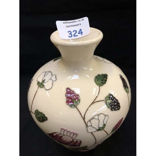 324 - A MOORCROFT POTTERY VASE DECORATED IN THE 'BRAMBLE REVISITED' PATTERN DESIGNED BY ALICIA AMISON, SHA...