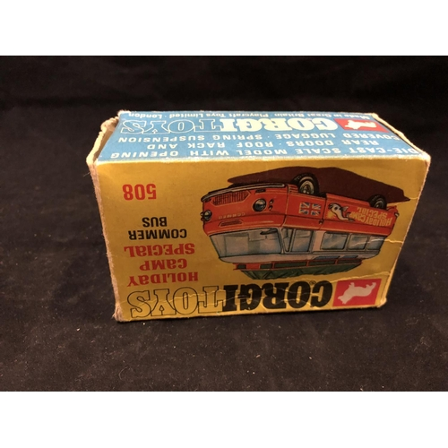 1005 - A VINTAGE 1960'S CORGI TOYS 508 HOLIDAY CAMP SPECIAL 'COMMER BUS' (BOXED) (SEE CONDITION REPORT)...