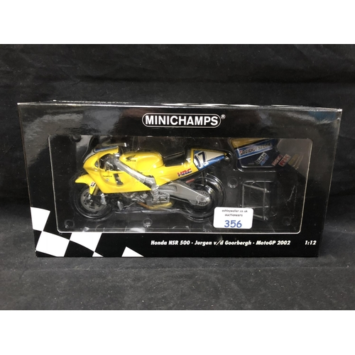 356 - A 'MINICHAMPS' 1:12 SCALE REPLICA GP 500 RACING BIKE MODEL - HONDA NSR 500 JURGEN VAN DE GOORBURGH, ...