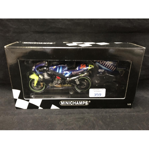 359 - A 'MINICHAMPS' 1:12 SCALE REPLICA GP 500 RACING BIKE MODEL - YAMAHA YZR 500 SHINYA NAKANO, 2001, MOD...