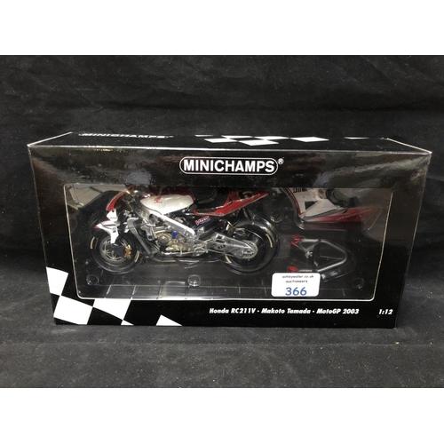 366 - A 'MINICHAMPS' 1:12 SCALE REPLICA MOTO GP RACING BIKE MODEL - HONDA RCV 211 V MAKATO TAMADA, 2003, M...