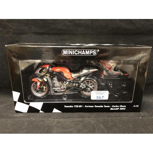 367 - A 'MINICHAMPS' 1:12 SCALE REPLICA MOTO GP RACING BIKE MODEL - YAMAHA YZR M1 CARLOS CHECA, 2003, MODE...