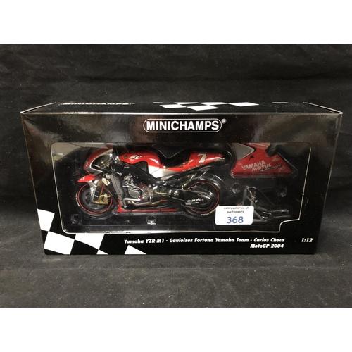 368 - A 'MINICHAMPS' 1:12 SCALE REPLICA MOTO GP RACING BIKE MODEL - YAMAHA YZR M1 CARLOS CHECA, 2004, MODE...