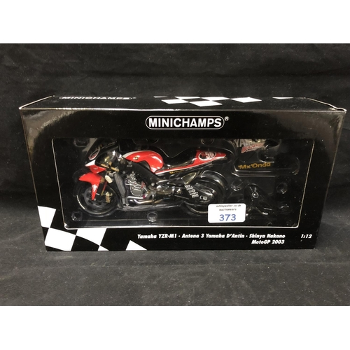 373 - A 'MINICHAMPS' 1:12 SCALE REPLICA MOTO GP RACING BIKE MODEL - YAMAHA YZR M1 SINYA NAKANO, 2003, MODE...