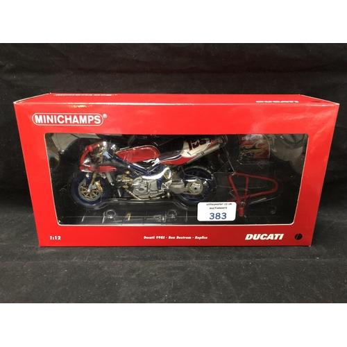 383 - A 'MINICHAMPS' 1:12 SCALE REPLICA RACING BIKE MODEL - DUCATI 998S BEN BOSTRUM REPLICA, MODEL NUMBER ...