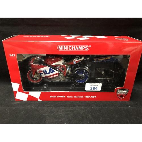 384 - A 'MINICHAMPS' 1:12 SCALE REPLICA WORLD SUPER BIKE RACING MODEL - DUCATI 999F04 JAMES TOSELAND, 2004...
