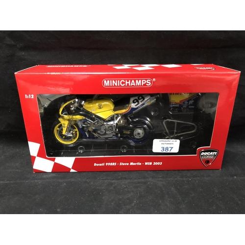 387 - A 'MINICHAMPS' 1:12 SCALE REPLICA WORLD SUPER BIKE RACING MODEL - DUCATI 998RS STEVE MARTIN, 2003, M...