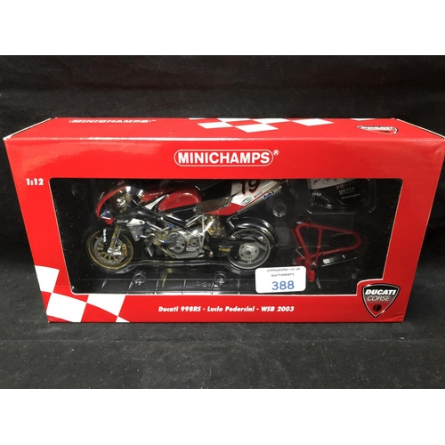 388 - A 'MINICHAMPS' 1:12 SCALE REPLICA WORLD SUPER BIKE RACING MODEL - DUCATI 998RS LUCIO PEDERCINI, 2003...