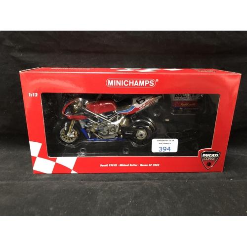 394 - A 'MINICHAMPS' 1:12 SCALE REPLICA MACAU GP WINNER BIKE RACING MODEL - DUCATI 998RS MICHAEL RUTTER, 2...