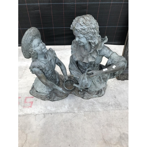19 - A LARGE AND UNUSUAL CAST BRONZE WATER FEATURE STATUE OF TWO GIRLS AT A TEA PARTY - 90 CM TALL X 98 C...
