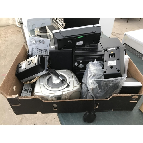 158 - A BOX CONTAINING A LOGIK MICRO STEREO, TWO RADIOS, SPEAKERS ALL W/O...