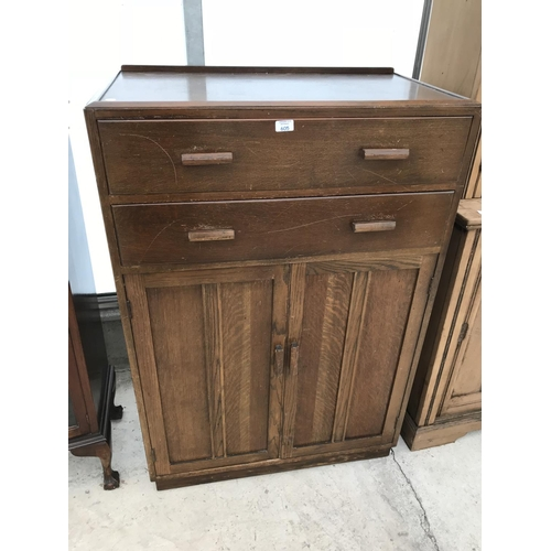 605 - AN OAK TALLBOY WITH TWO DOORS AND TWO DRAWERS...