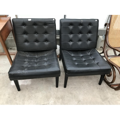 612 - TWO RETRO 1960s BLACK LEATHERETTE CHAIRS WITH BUTTONED SEATS AND BACKS...