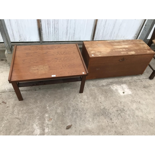 618 - TWO RETRO TEAK ITEMS - A COFFEE TABLE AND A STORAGE CHEST...