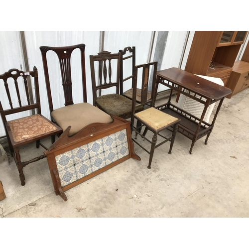 622 - SEVEN VARIOUS CHAIRS, A TILED WASHSTAND SPLASHBACK, AN OAK TEA TROLLEY AND A WHITE WICKER CORNER LIN...