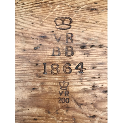 629 - A LOW PINE CHEST- MONOGRAMMED
