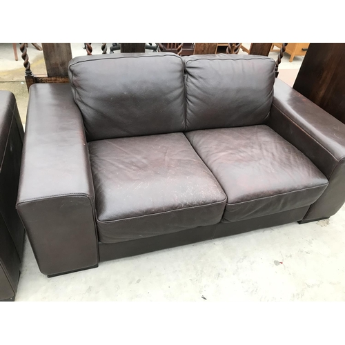 636 - TWO BROWN LEATHER TWO SEATER SOFAS...