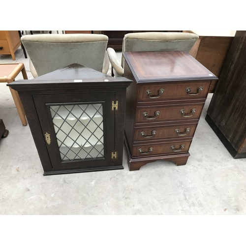 639 - AM INLAID MAHOGANY HI-FI CABINET AND AN OAK CORNER CABINET WITH LEAD GLAZED DOOR WITH KEY...