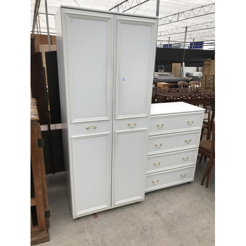 645 - A WHITE WARDROBE AND MATCHING CHEST OF FOUR DRAWERS...