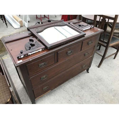 651 - AN OAK DRESSING TABLE WITH THREE SHORT AND TWO LONG DRAWERS AND UPPER BEVEL EDGE MIRROR (MIRROR BRAC...