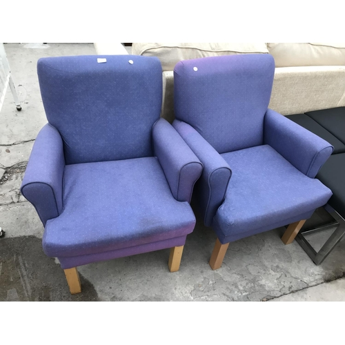 658 - TWO PURPLE ARMCHAIRS...