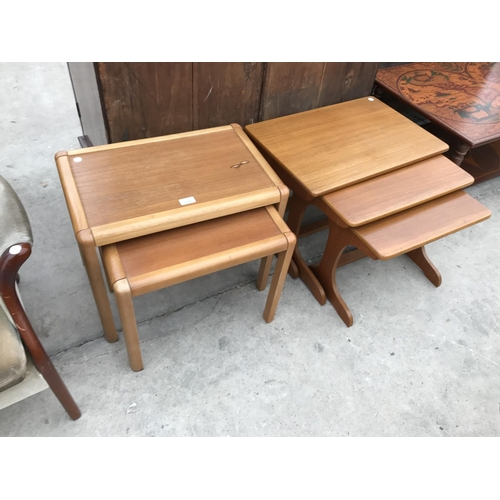 675 - TWO RETRO TEAK NESTS OF TABLES (ONE TWO, ONE THREE)...