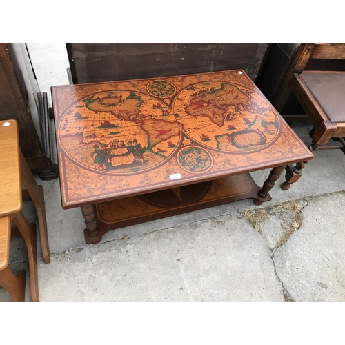 676 - A RETRO ANCIENT WORLD MAP COFFEE TABLE WITH LOWER SHELF...