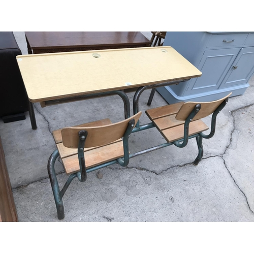 679 - A RETRO SCHOOL TWIN DESK ON TUBULAR METAL SUPPORTS...