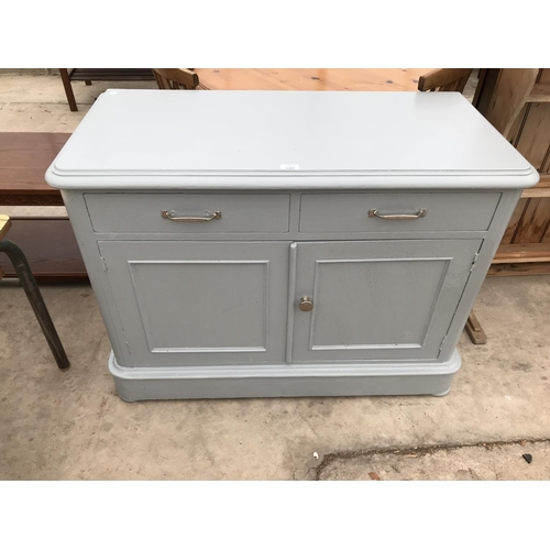 680 - A SMALL SHABBY CHIC SIDEBOARD WITH TWO DOORS AND TWO DRAWERS...