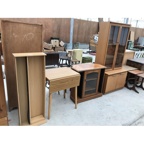 687 - FOUR ITEMS - A CD RACK, A FORMICA DROP LEAF TABLE, A CD CABINET AND A TEAK CABINET WITH TWO LOWER AN...