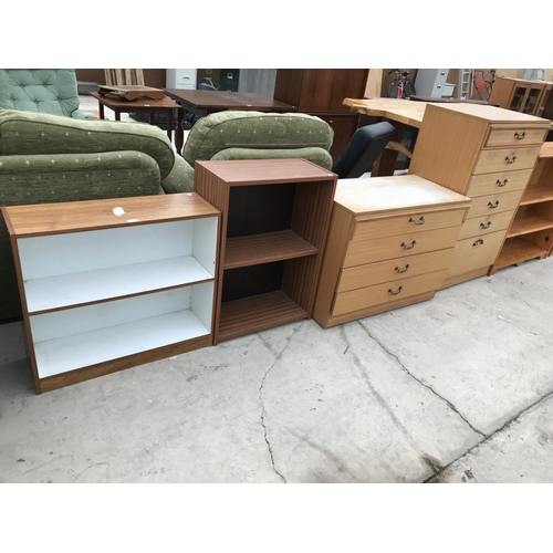 692 - FOUR TEAK EFFECT ITEMS - TWO BOOKCASES AND TWO CHESTS OF DRAWERS...