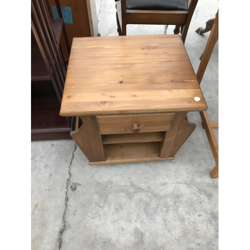 695 - FOUR ITEMS - A MODERN DESK  AND BLACK SWIVEL OFFICE CHAIR, A MAHOGANY CANTERBURY STYLE BOOKCASE AND ...