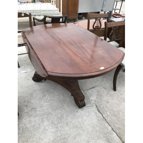 712 - A VICTORIAN DROP LEAF, TILT TOP DINING TABLE...