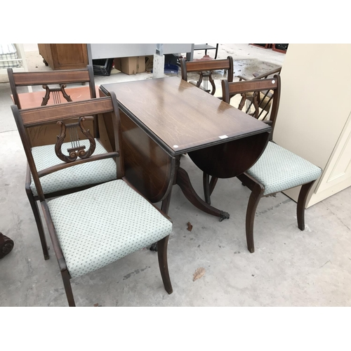 713 - AN INLAID MAHOGANY DROP LEAF DINING TABLE AND FOUR MATCHING LYRE BACK DINING CHAIRS...